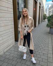 coat,trench coat,white sneakers,black pants,ysl bag,shirt,polka dots