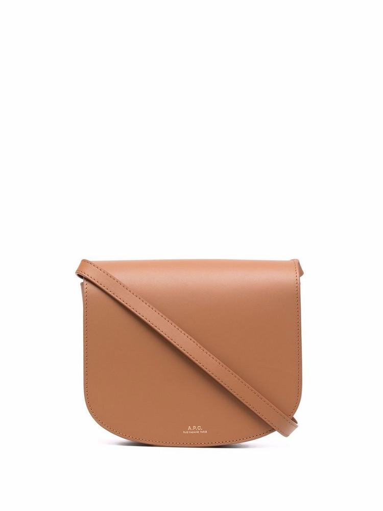A.P.C. A.P.C. logo-print leather shoulder bag - Brown