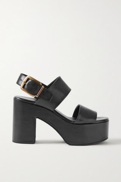 Dries Van Noten - Leather Platform Sandals - Black