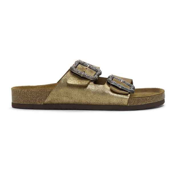 Marc Jacobs Gold Redux Grunge Glitter Two-Strap Sandals