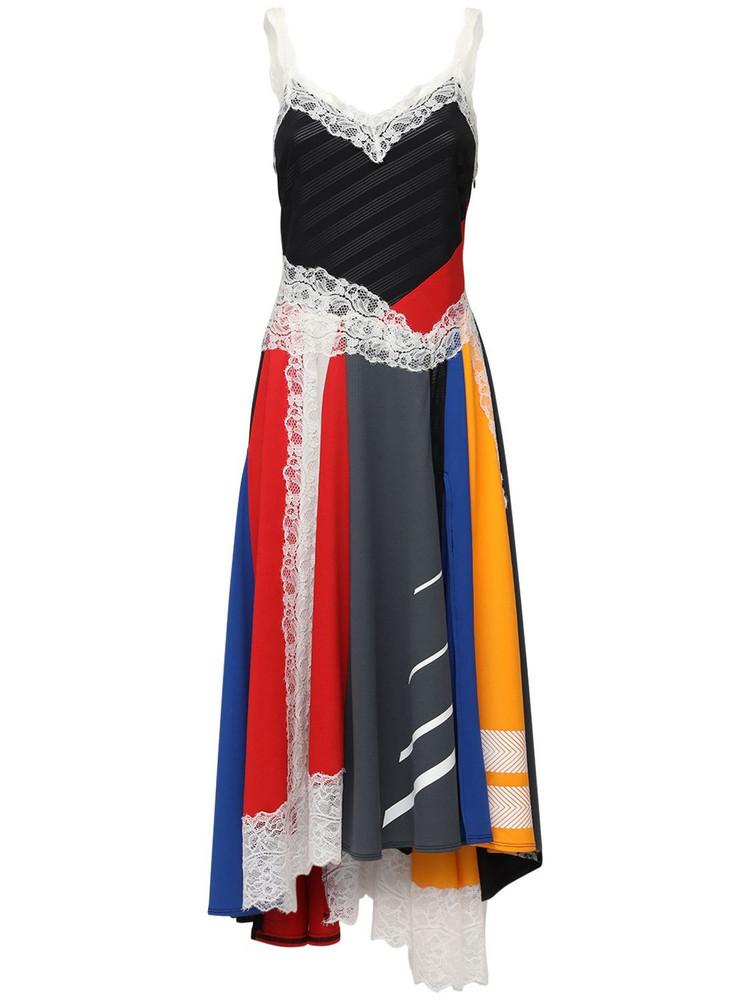 KOCHE' Patchwork Stretch Jersey Midi Dress in black