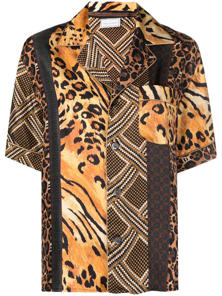 Pierre-Louis Mascia animal-print silk shirt in brown
