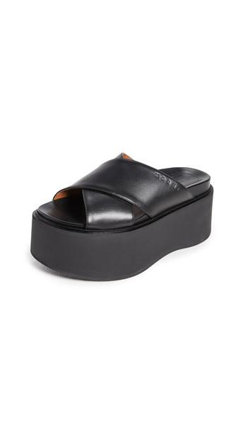 Marni Platform Wedge Sandals in black