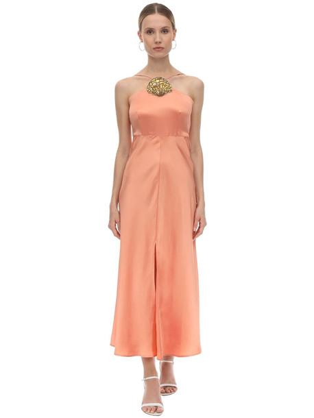 RIXO Embellished Silk Blend Jacquard Dress in coral