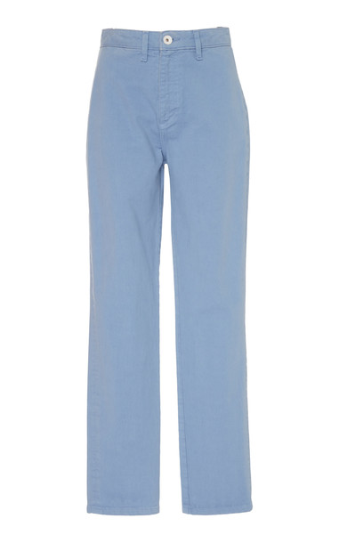 Staud Leroy High-Waisted Straight-Leg Jeans in blue