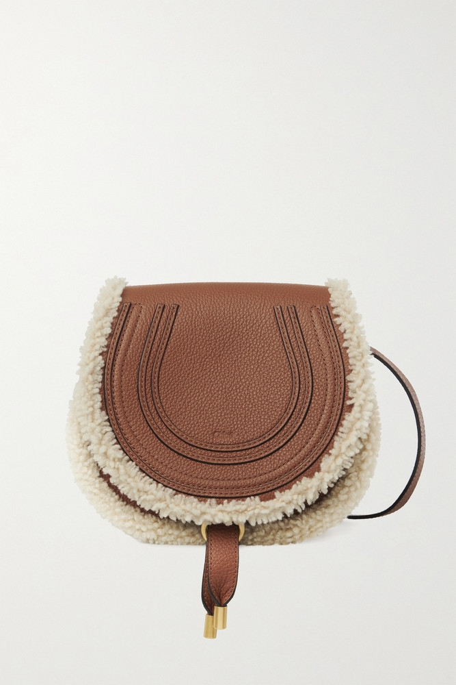 Chloé Chloé - Marcie Mini Shearling-trimmed Textured-leather Shoulder Bag - Brown