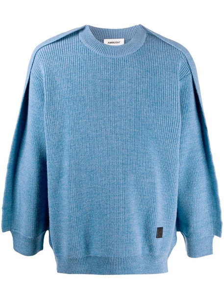 AMBUSH relaxed fit ribbed jumper in blue