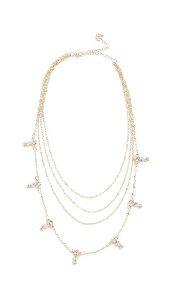 Jules Smith Four Layer Crystal Necklace in gold