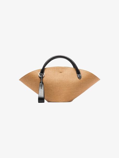 Jil Sander brown and black sombrero small tote bag