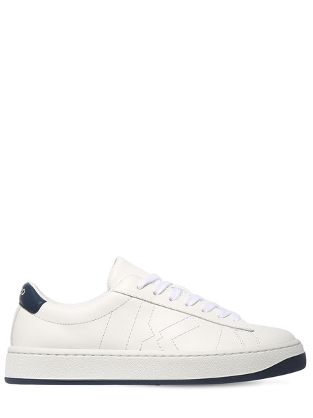 KENZO 20mm Logo Embroidered Leather Sneakers in navy / white