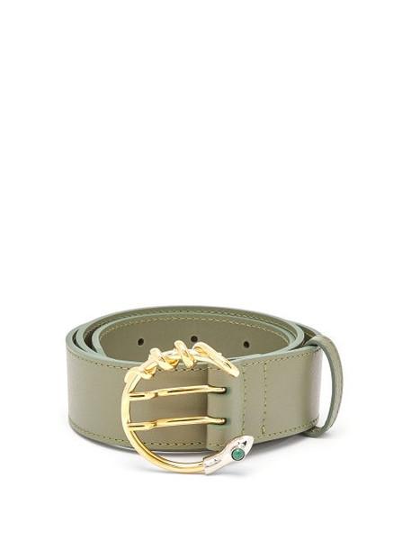 Chloé Chloé - Snake C-buckle Leather Waist Belt - Womens - Green