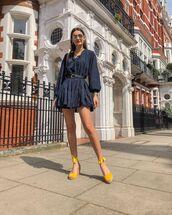 shoes,platform shoes,mini dress,navy dress,long sleeve dress,belt,shoulder bag