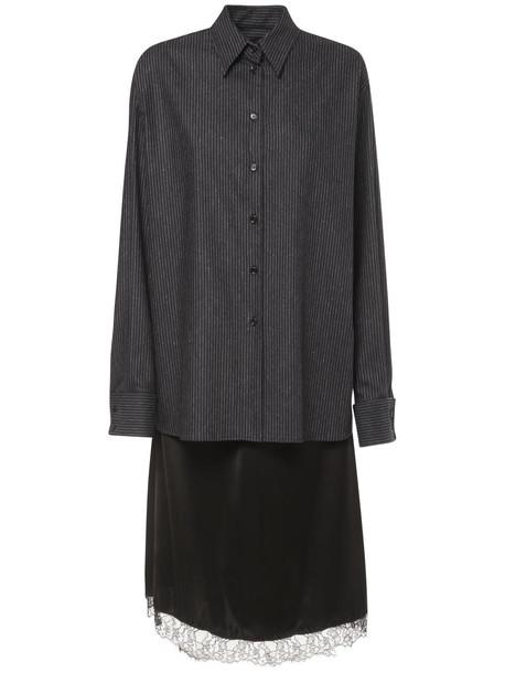 MM6 MAISON MARGIELA Pinstripe Wool & Satin Midi Dress in black / navy