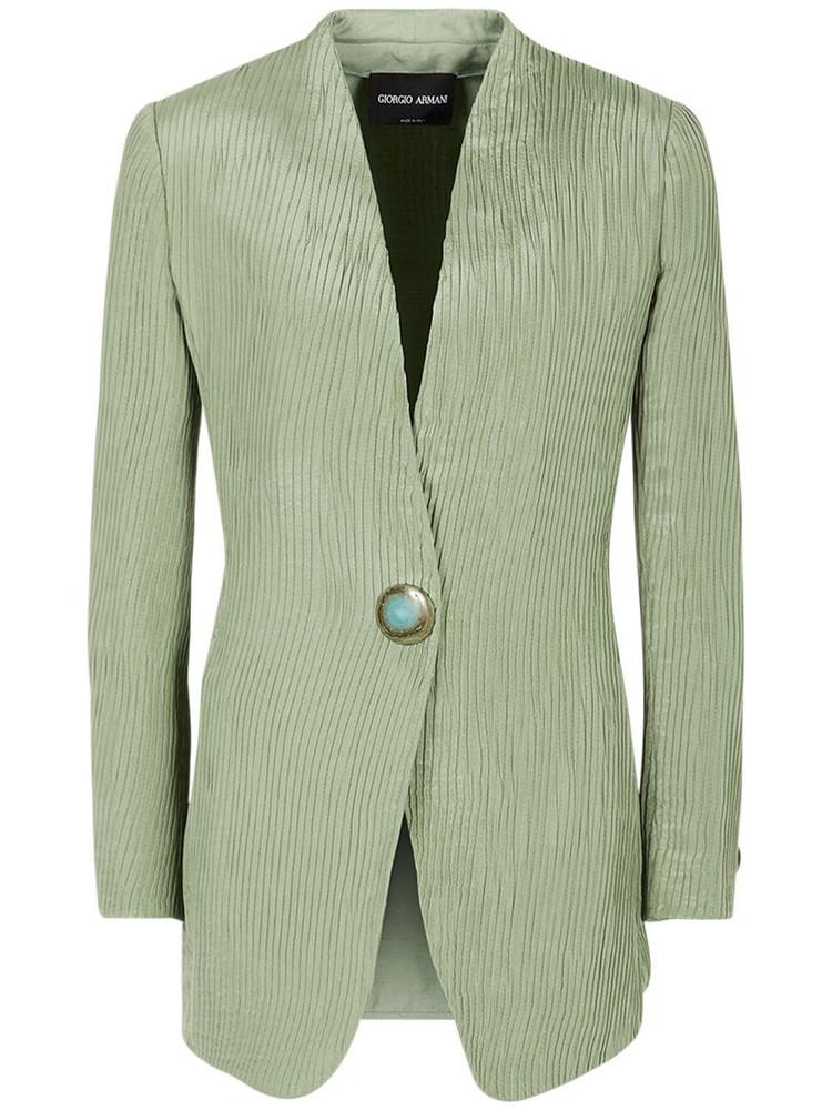GIORGIO ARMANI Plissé Effect Silk Satin Jacket in green