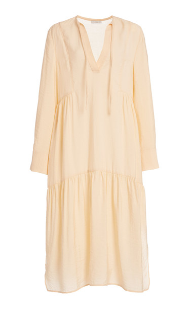 Vince Tiered Crepe De Chine Dress in neutral