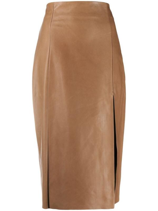 Drome front slit high waist skirt in brown
