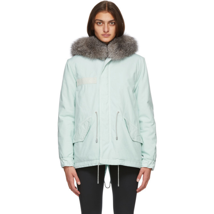 Mr and Mrs Italy Blue Fur Mini Parka in silver