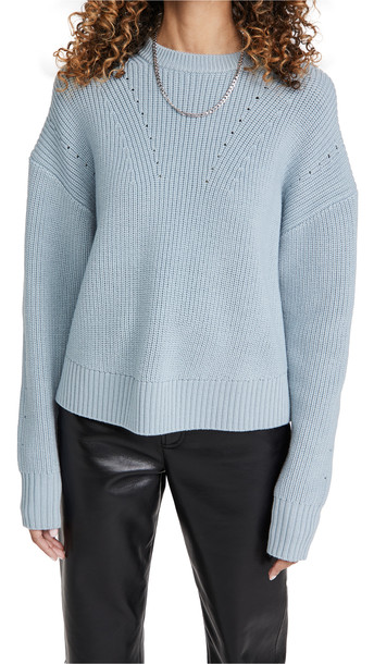 Proenza Schouler White Label Merino Knit Top with Back Slit in blue
