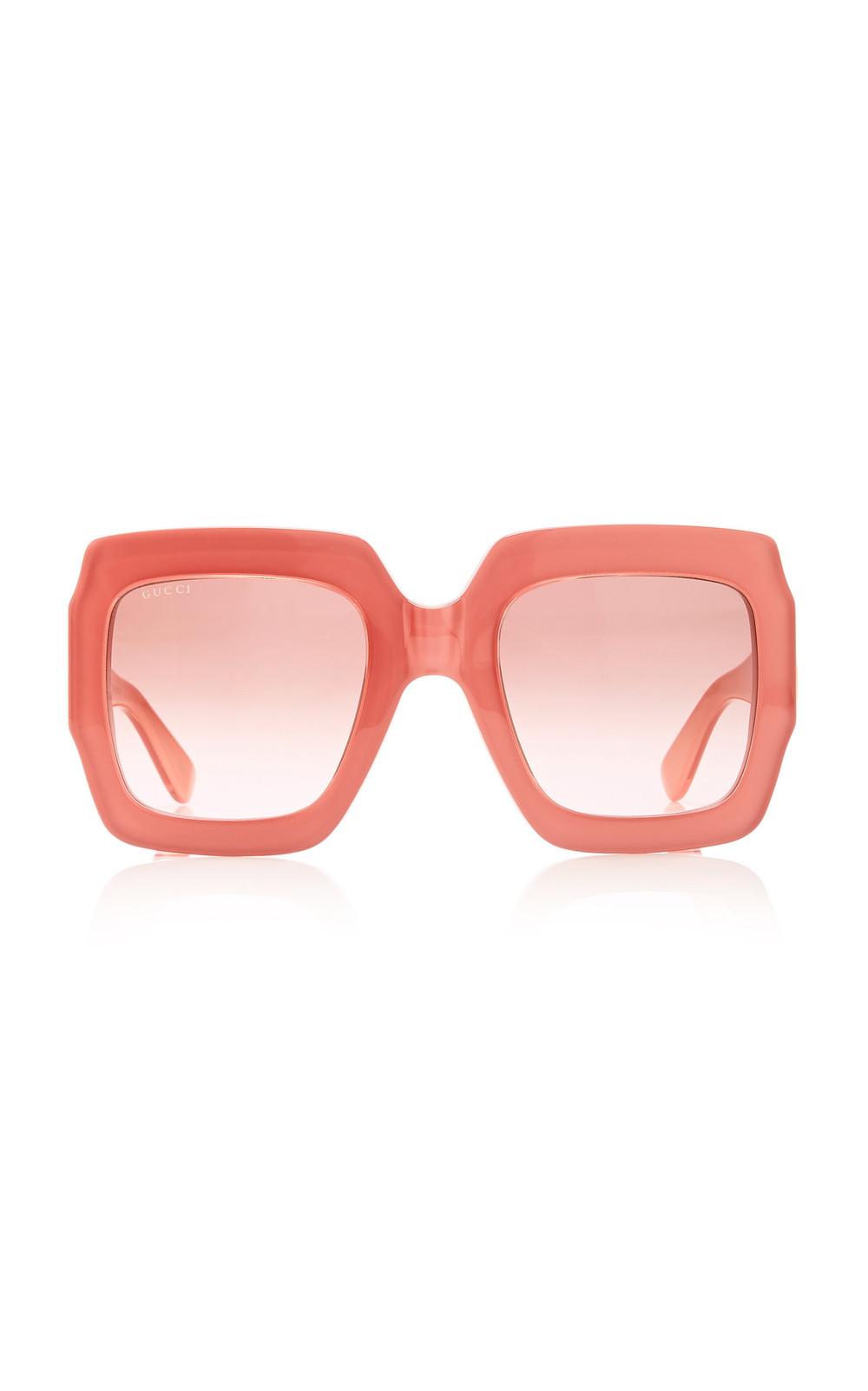 Gucci Sunglasses Pop Web Acetate Square-Frame Sunglasses in pink