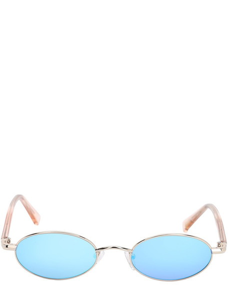 LE SPECS Sorcerer Oval Metal Sunglasses in blue / gold