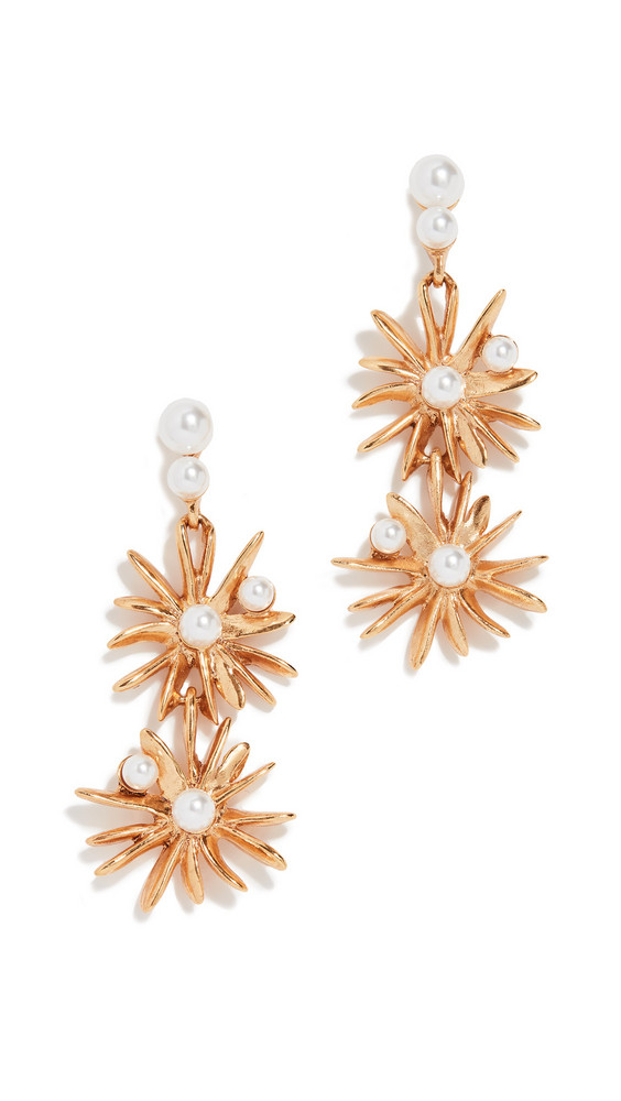 Oscar de la Renta Classic Swarovski Crystal Pearl Starburst Earrings in gold