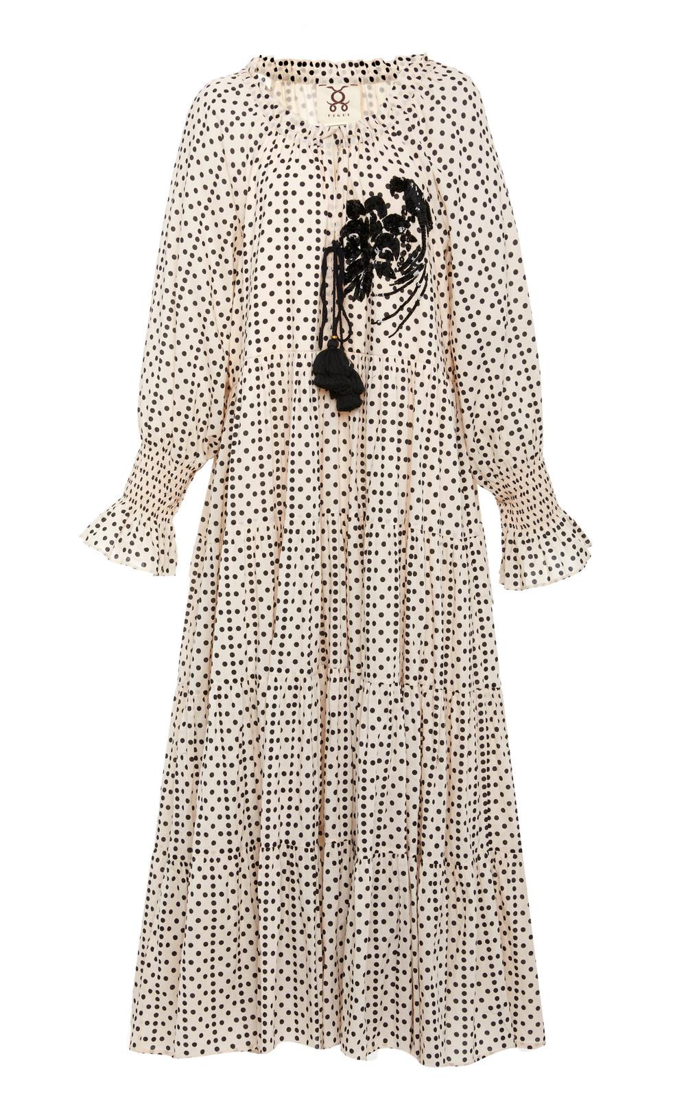 Figue Bella Sequin-Embroidered Cotton Midi Dress in black / white