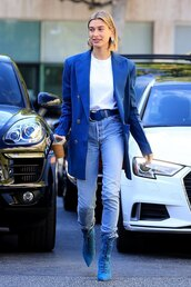 shoes,top,blazer,oversized,oversized blazer,hailey baldwin,streetstyle,fall outfits,jeans,denim