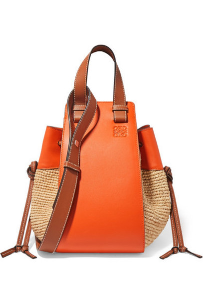Loewe - Paula's Ibiza Hammock Medium Leather-trimmed Raffia Shoulder Bag - Orange