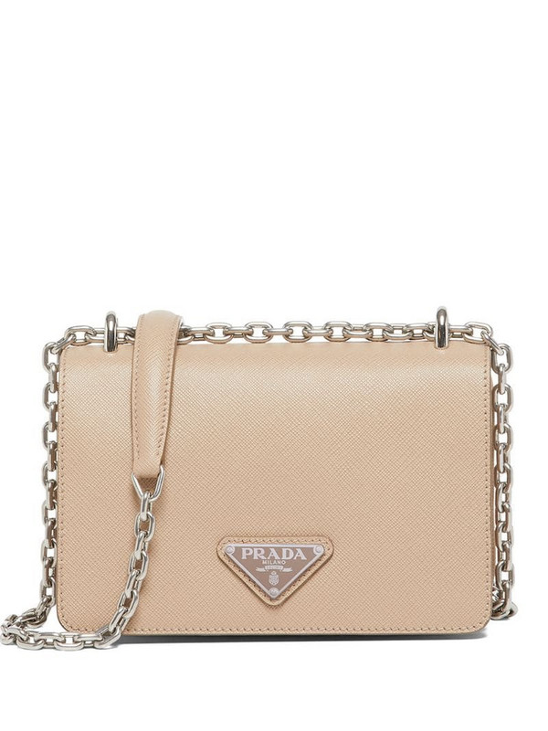 Prada chain-link trim shoulder bag in neutrals