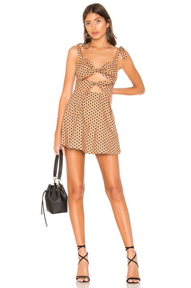 MAJORELLE Lilly Mini Dress in tan