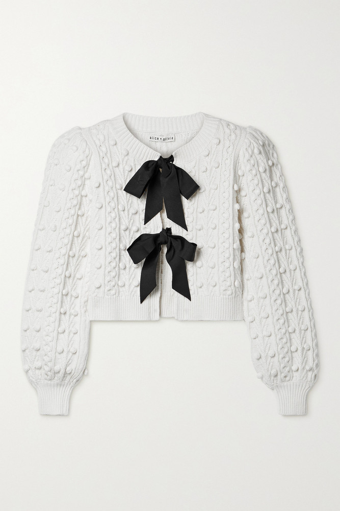 ALICE + OLIVIA ALICE + OLIVIA - Kitty Grosgrain-trimmed Cable-knit Cardigan - White