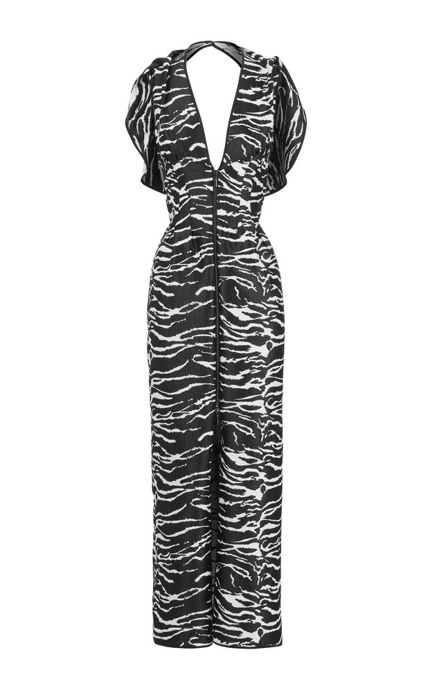 Maticevski Insecta Ruffled Printed Georgette Maxi Dress Size: 8 in neutral