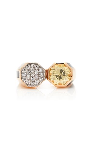 Melis Goral 14K Rose Gold Diamond And Topaz Ring