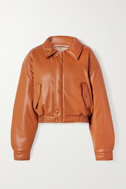 Nanushka - Bomi Vegan Leather Bomber Jacket - Camel