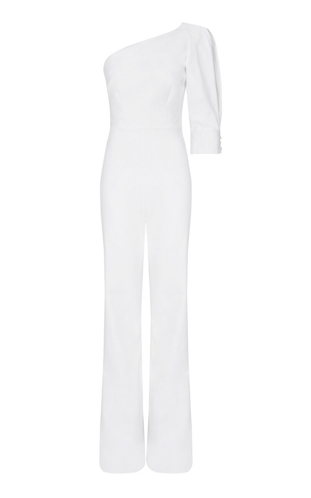 Safiyaa Gia One-Shoulder Wide-Leg Jumpsuit in white