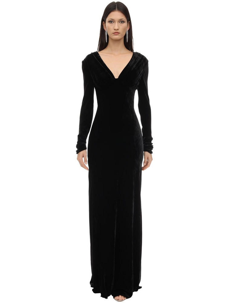 MARIA LUCIA HOHAN Vivia Long Silk Velvet Dress in black