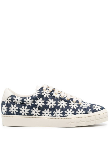 Zespa daisy-print lace-up trainers in blue