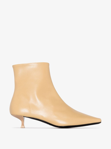 by FAR Laura 50 square-toe leather ankle boots in neutrals