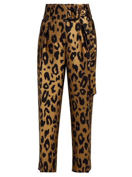 Petar Petrov - Harell Leopard Print Jacquard Trousers - Womens - Gold Multi