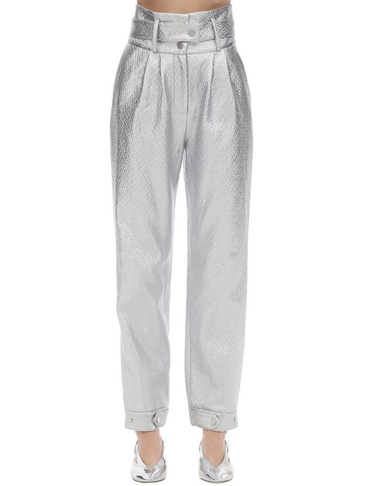 ANNAKIKI High Waist Faux Patent Leather Pants in silver