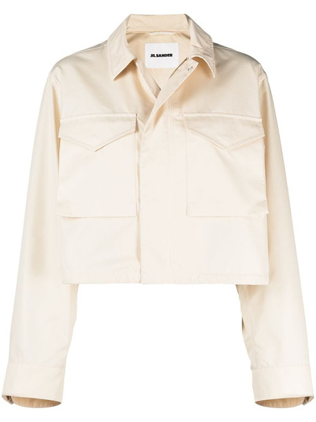 Jil Sander cropped cotton shirt jacket in neutrals