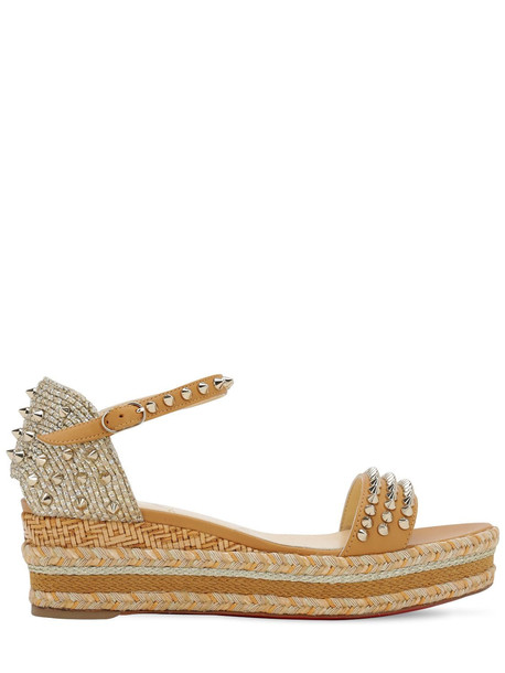 CHRISTIAN LOUBOUTIN 60mm Madmonica Leather & Rope Wedges in gold / beige