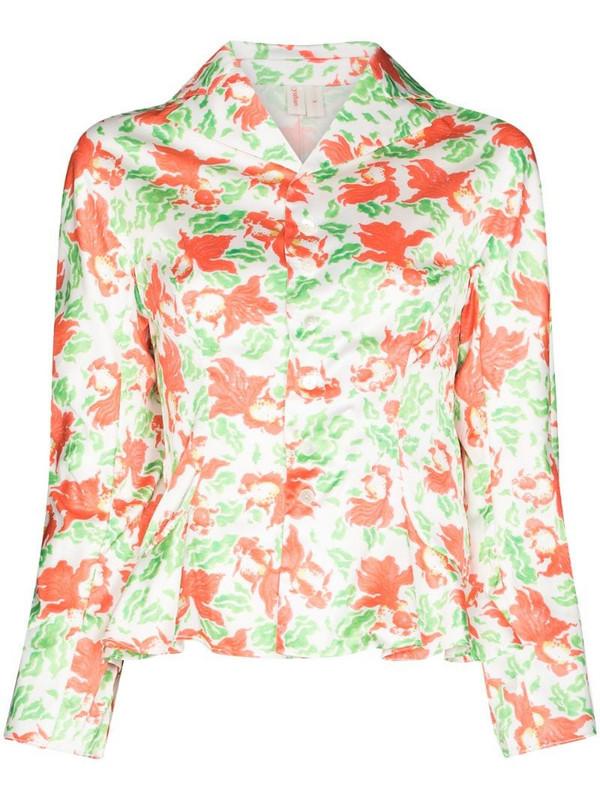 yuhan wang goldfish print blouse in white