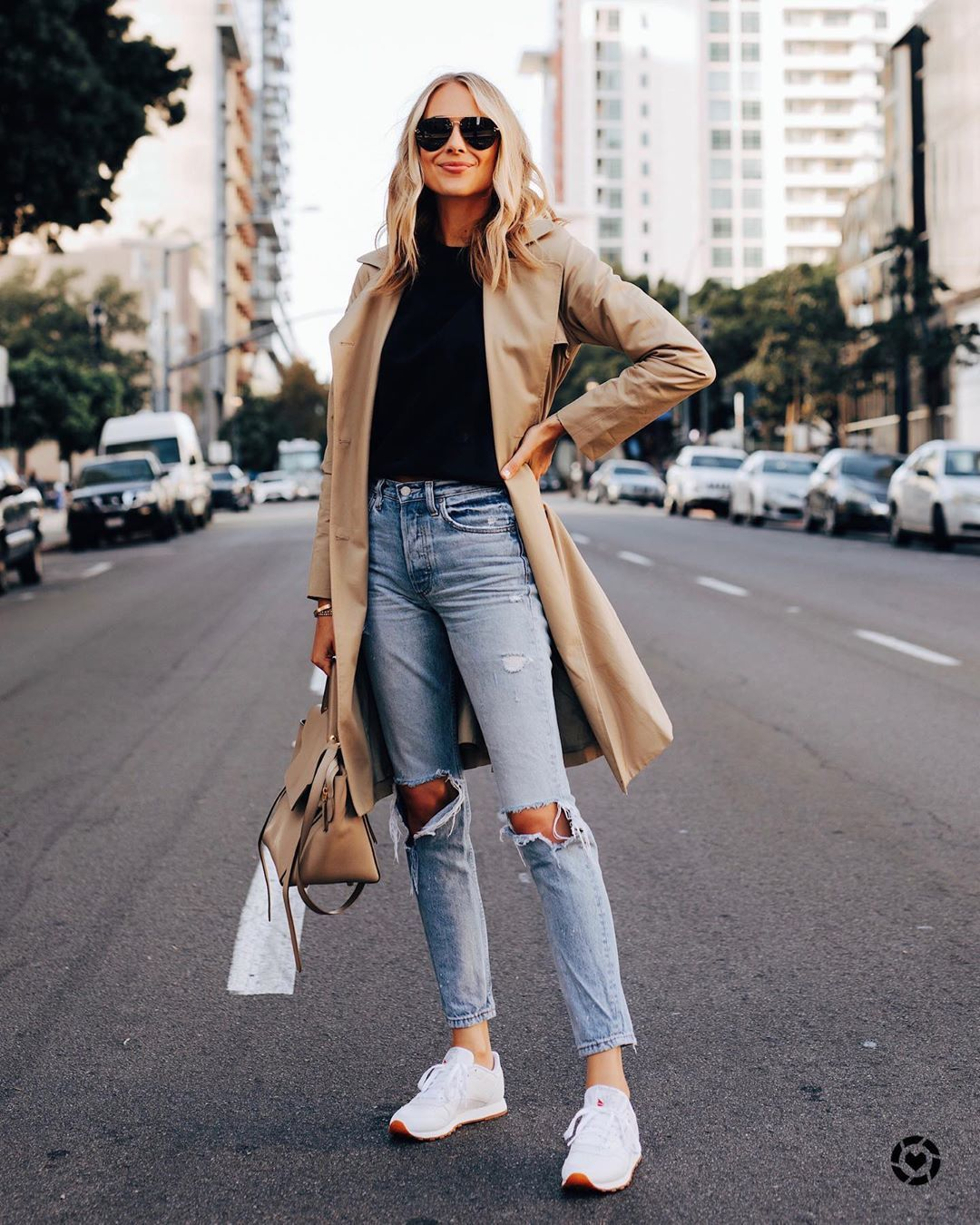 shoes sneakers Reebok ripped jeans skinny jeans trench coat bag black sweater