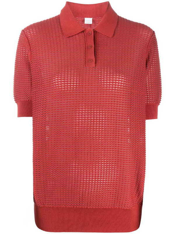 BOSS knitted polo top in red