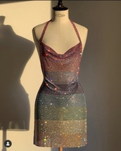 dress,rainbow dress,colorful dress,rainbow sparkly dress,rainbow glitter dress,rainbow crystal dress,fashion