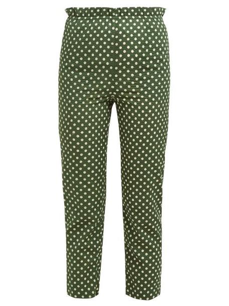 Belize - Elise Polka Dot High Waist Cotton Trousers - Womens - Green Print