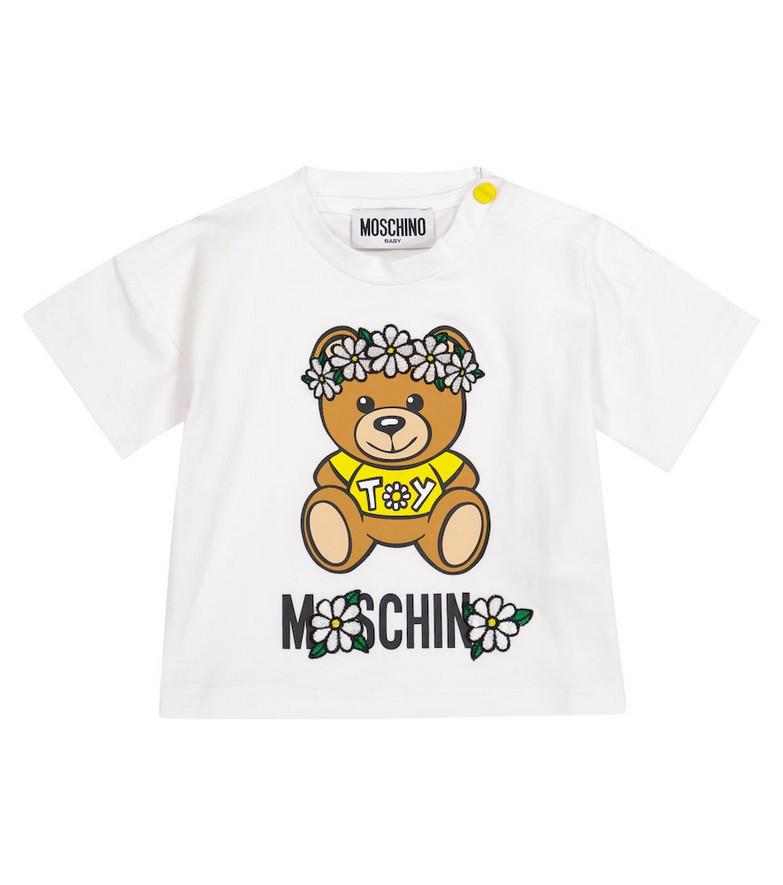 Moschino Kids Baby logo stretch-cotton T-shirt in white