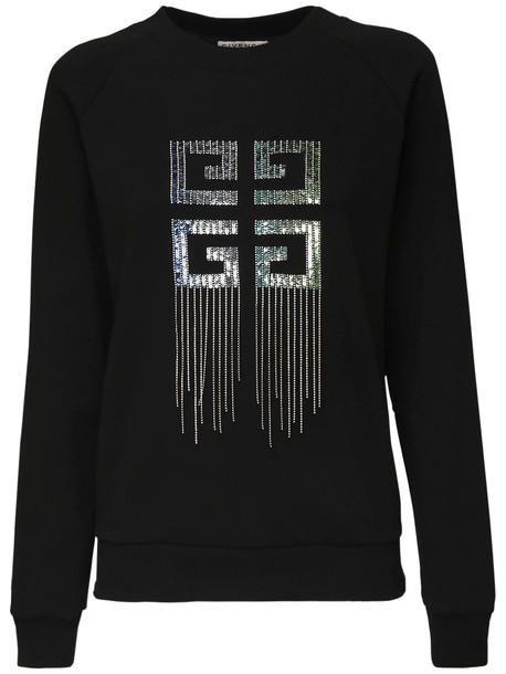 GIVENCHY Logo Cotton Jersey Sweatshirt W/ Fringe in black / silver