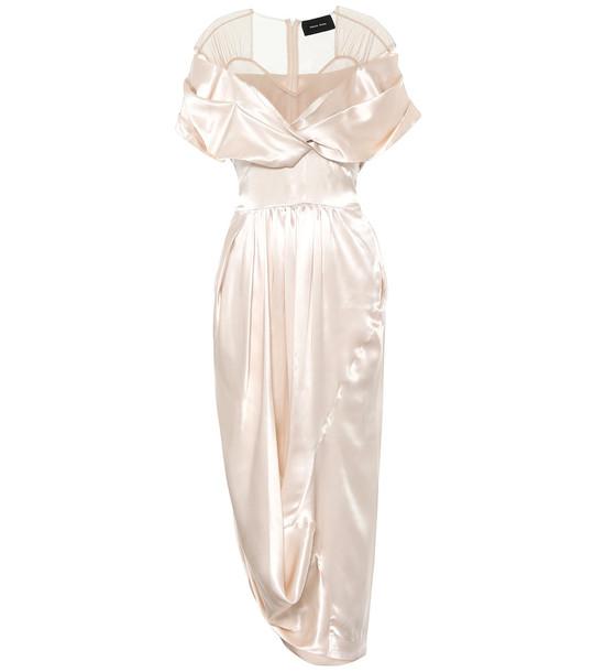 Simone Rocha Silk-satin midi dress in neutrals